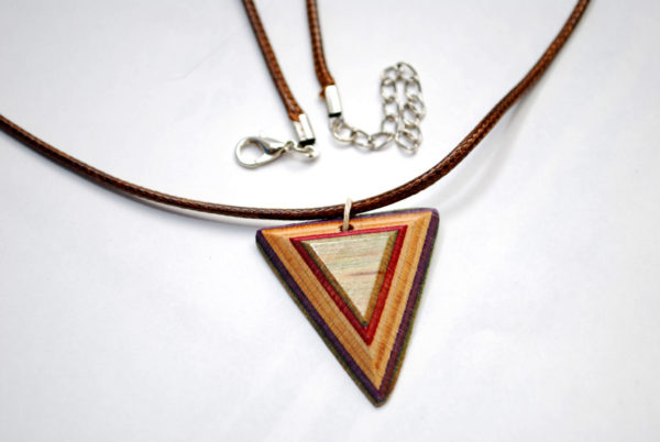wood necklace, skateboard gift