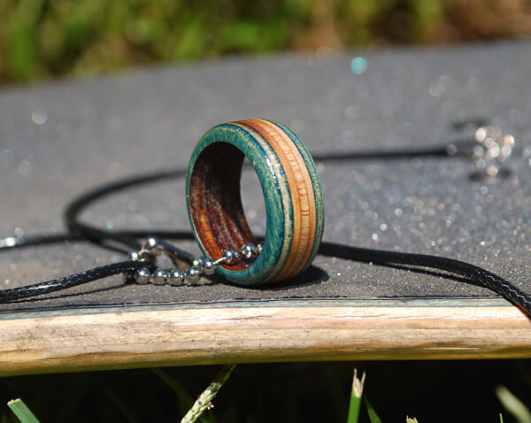 skateboard jewelry, recycled, rings