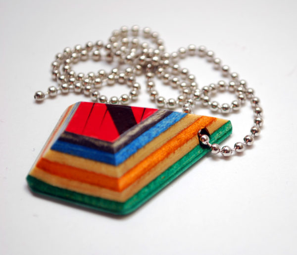 skateboard, recycled, pendant, necklace, broken skateboard, jewelry