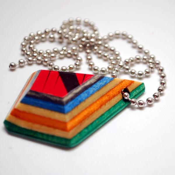 skateboard, recycled, pendant, necklace, broken skateboard, jewelry
