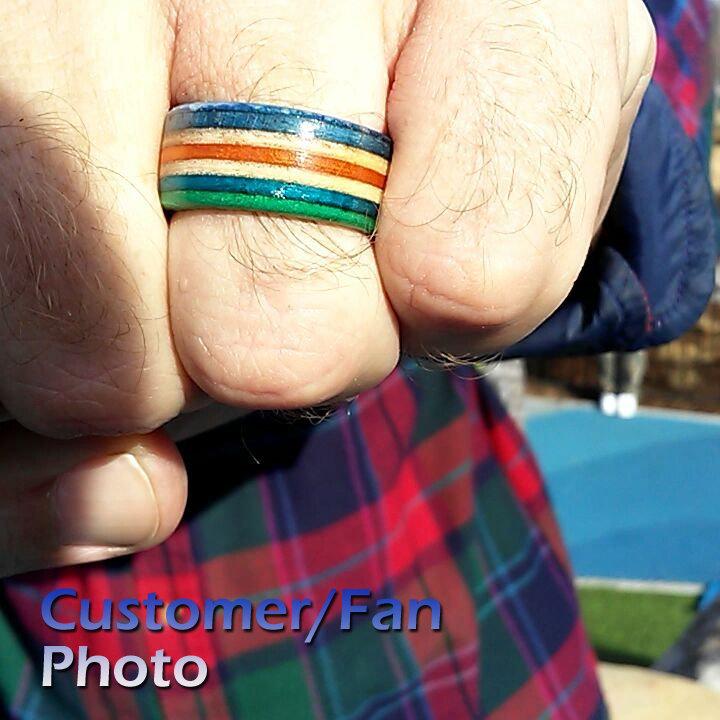 skate ring, recycled, skateboard, rings