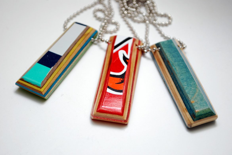 recycled, skateboard, necklace, skate