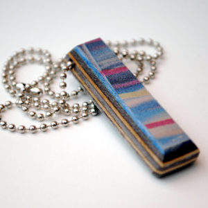made from recycled skateboards, recycled, skateboards, necklace, ring