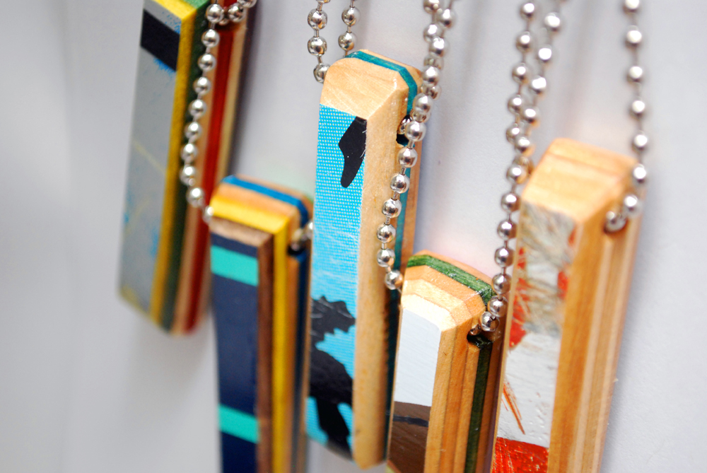 recycled skateboard, necklace, mens, wood, jewelry