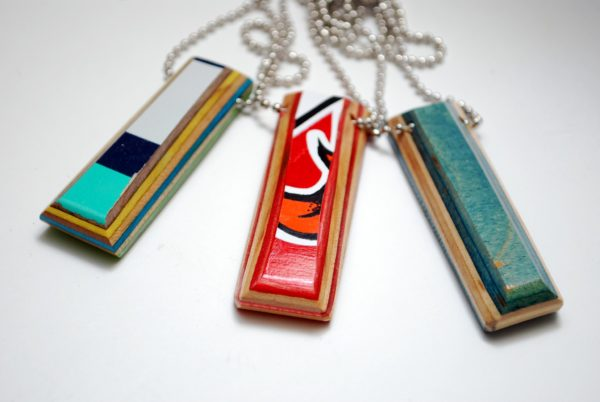 recycled, skateboard, necklace, rings, gifts, Christmas