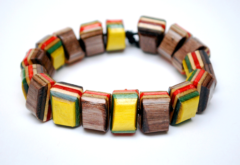 recycled, skateboard, bracelet