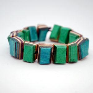 beaded bracelet, recycled skateboard, gift, jewelry