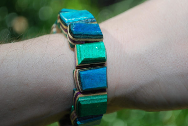 recycled skateboard, bracelet, rings, skater gifts