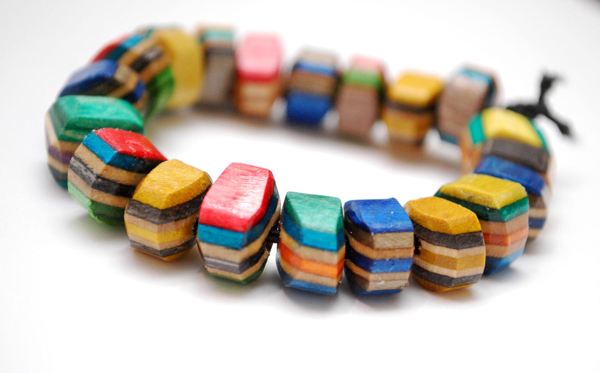 wood bracelet, skateboard, recycled