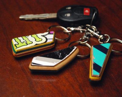 Reclaimed, skateboard, broken, upcycled, skate, keychain, gift