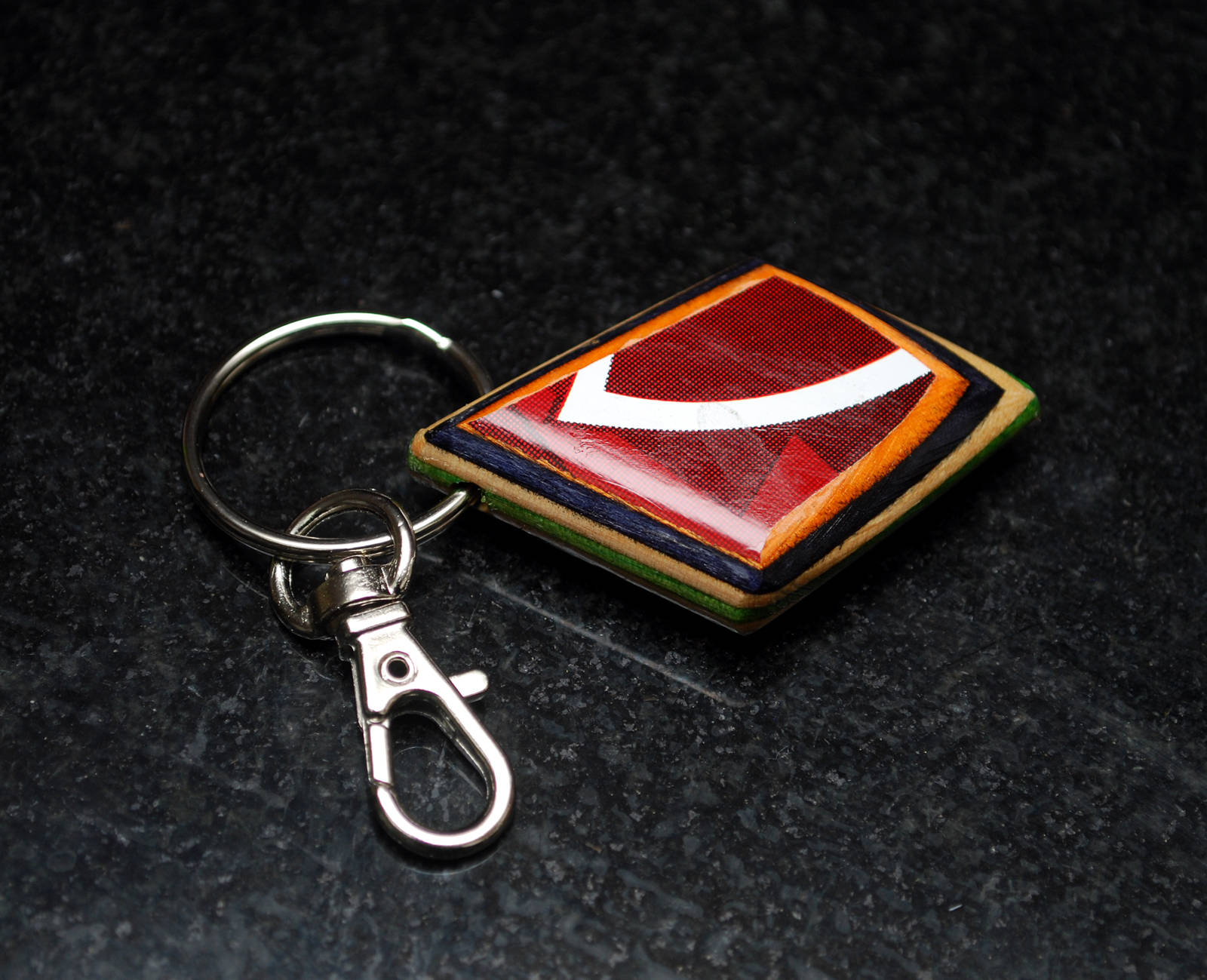 recycled skateboard, wood keychain, key chain, skater gift