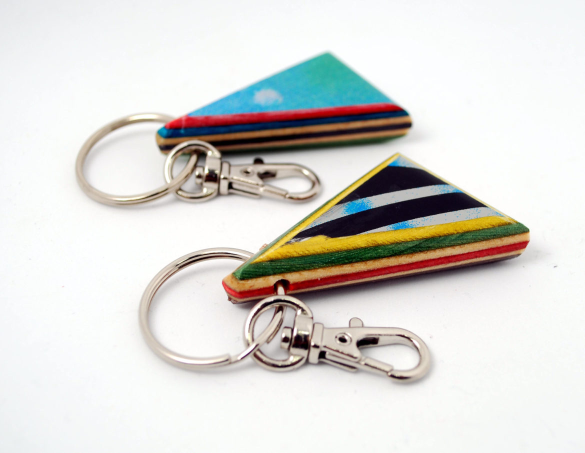 wooden keychain, recycled wood, skateboards, gift