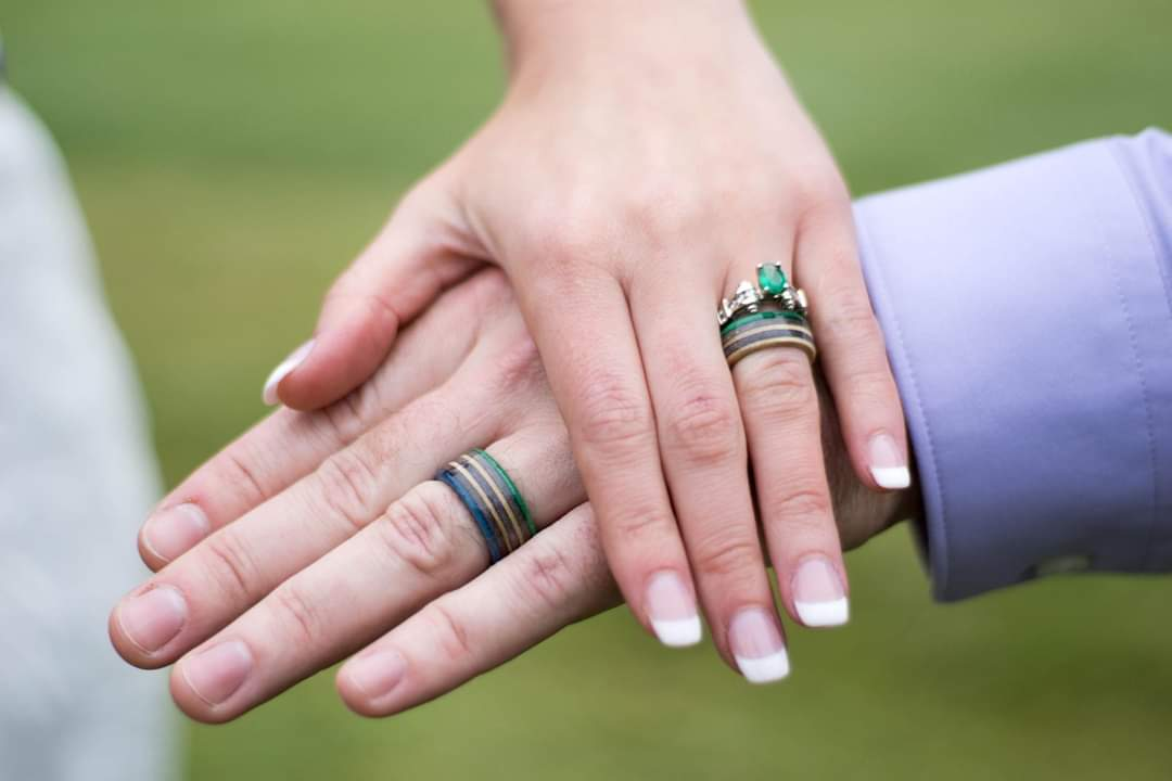 wedding ring, his hers, engagement, wood rings