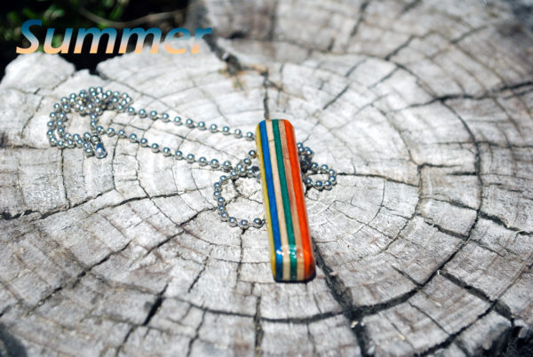 necklace, summer, jewelry, upcycled, skateboard