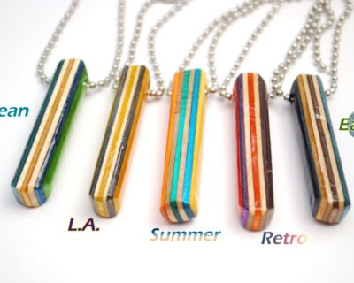 recycled skateboard, bar necklace, jewelry