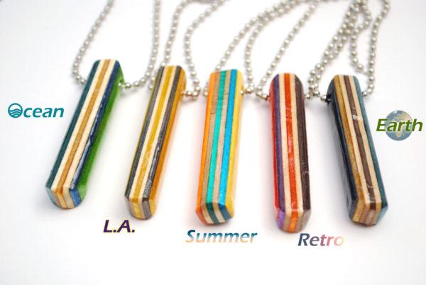 recycled skateboard, bar necklace, jewelry