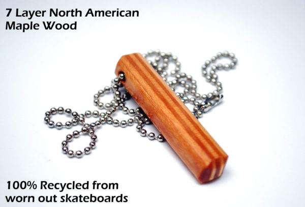 mens, necklace, maple wood, recycled, skateboards