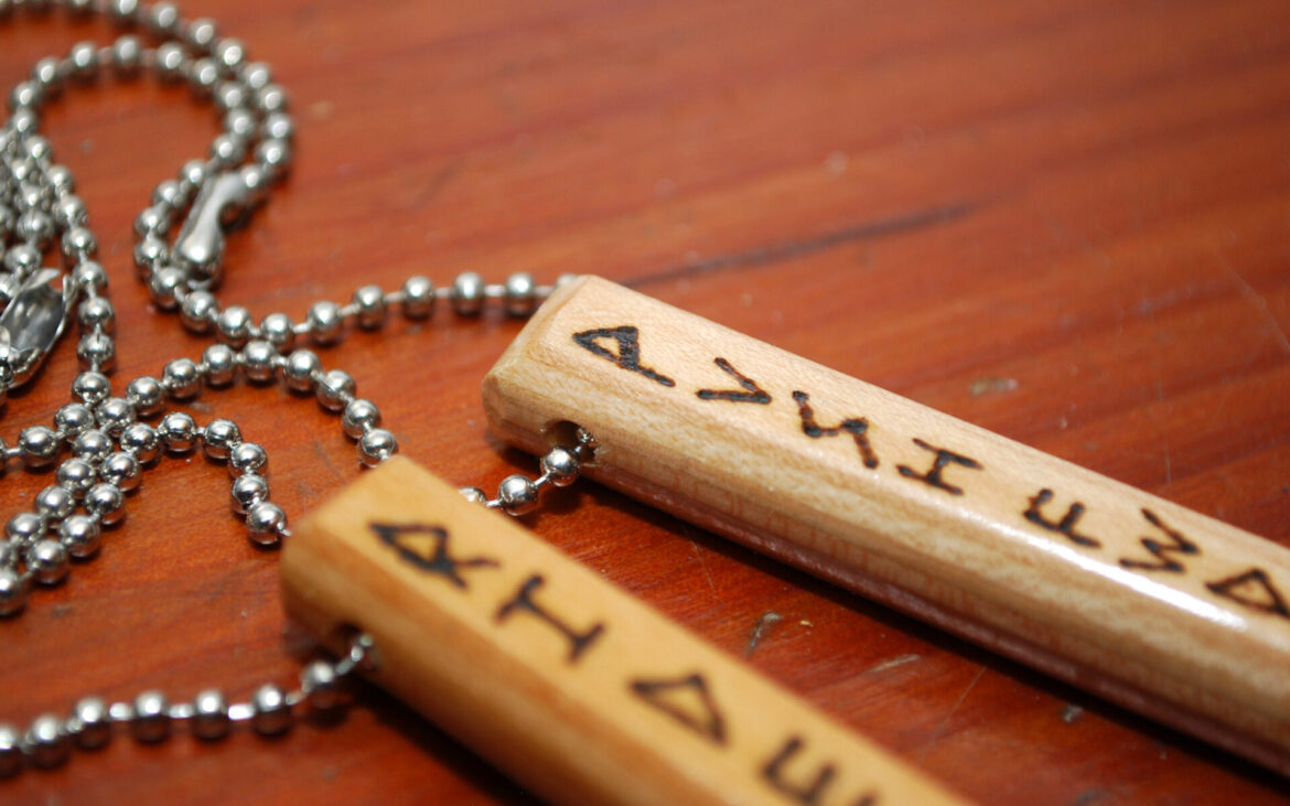 necklace with message, pendant necklace, wood burned