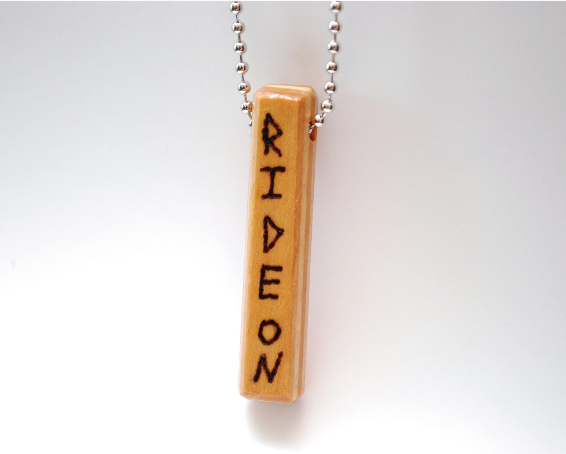 wood burned, jewelry, messaging, necklace, recycled