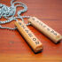 wood pendant necklace, message, burned, recycled, skateboard