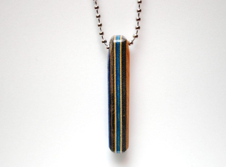 skateboard, necklace, upcycled