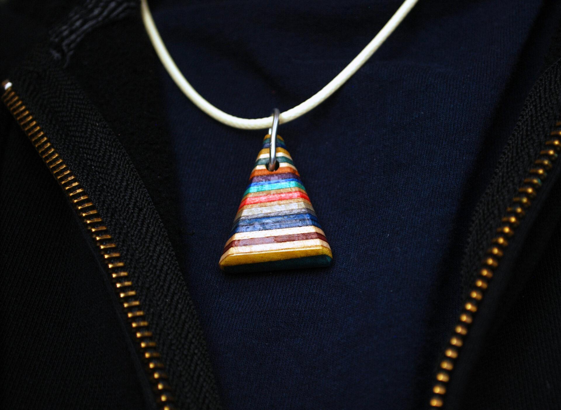 rainbow, jewelry, necklace, wood, skateboard